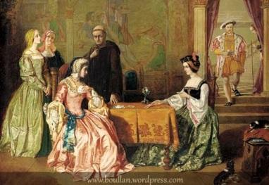 Catarina de Aragão jogando cartas com Ana Bolena e Henrique VIII ao fundo, feito por Egley Guilherme Maw.