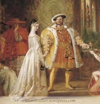 Primeira Entrevista de Henrique VIII com Ana Bolena, por Daniel Maclise, 1835.