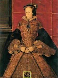 Maria I, por Hans Eworth em 1554.