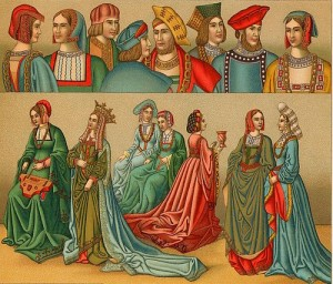 Roupas do período Tudor, por volta de 1486.