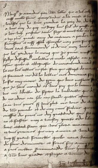 Primeira carta conservada de Ana Bolena. Escrita em 1514, quando tinha treze anos, para seu pai.