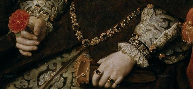 Detalhe; Maria I, por Antonio Moro, em 1554.
