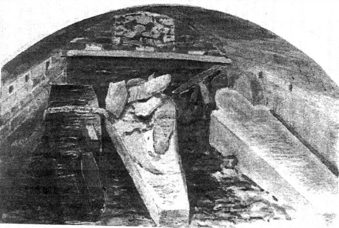 Esboço dos caixões de Charles I, Henrique VIII e Jane Seymour feito por Alfred Young Nutt em 1888. Segundo um relato de 1813, o cofre foi aberto e descobriram que o caixão de Charles estava aberto no topo e havia um buraco no caixão de Henrique VIII com seu crânio aparentemente visível.