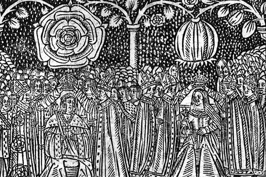 Xilogravura do séc. 16 mostra a coroação de Henrique VIII e Catarina de Aragão. Acima de suas cabeças é possível ver seus emblemas, a Rosa Tudor e a Romã.