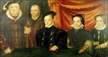 Henrique VIII com seus filhos (e seu bobo, Will Sommers).