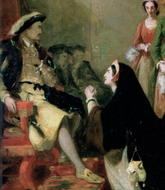 Catherine of Aragon pleads her case against divorce from Henry VIII. Painting by Henry Nelson O'Neil.