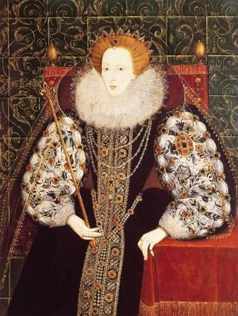 Rainha Elizabeth, atribuído a John Bettes, cerca de 1585.