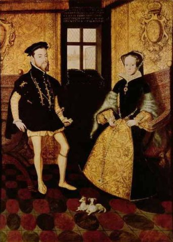 Rei Filipe II e Rainha Maria I, por Hans Eworth em 1558.