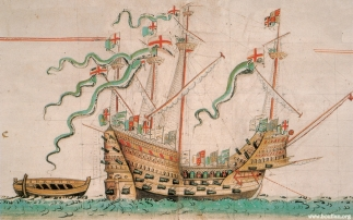 Ilustração do Mary Rose, feita por Anthony Roll, 1546.