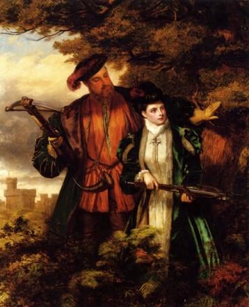 Uma pintura do início do século 20, Ana Bolena caçando um veado com o Rei. Artista desconhecido.