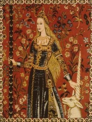 'The Lady and the Unicorn', parte de uma tapeçaria de seis peças. Feitas entre 1484 e 1500.
