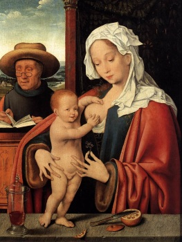 'The Holy Family' por Joos van Cleve, séc. 16.