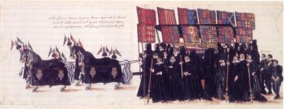 O Funeral de Elizabeth I, por artista desconhecido, 1603.