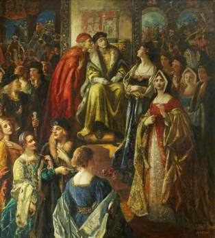 'King Henry VII Fining the Citizens of Bristol Because Their Wives Were So Finely Dressed', por Thomas Edwin Mostyn em 1919.