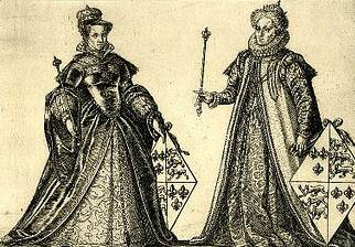 Gravura de Maria I e Elizabeth I, século 16.