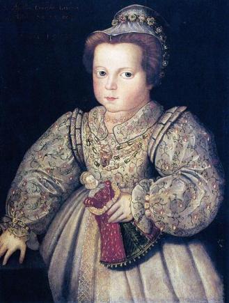 Lady Arbella Stuart, em 1577 por artista desconhecido.