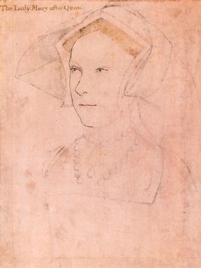 Esboço que se acredita retratar Maria Tudor. Por Hans Holbeins, c. 1536-1537.