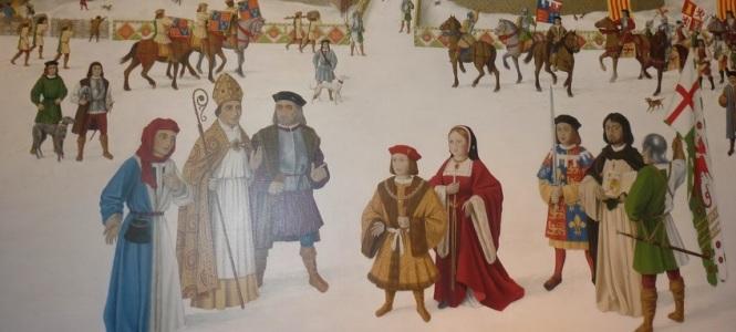 Pintura moderna retratando a chegada de Artur e Catarina no Castelo de Ludlow
