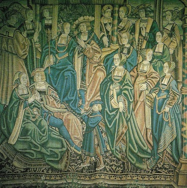 Tapeçaria flamenga retratando o noivado de Artur Tudor e Catarina de Aragão.