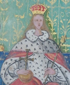 Detail of Queen Mary from the Plea Rolls of Kings Bench, 1554.