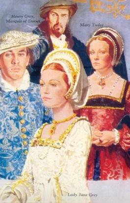 Lord Guildford Dudley, Lady Jane Grey, Henrique Grey, Marquês de Dorset e Maria Tudor. UK Magazine, 1975.