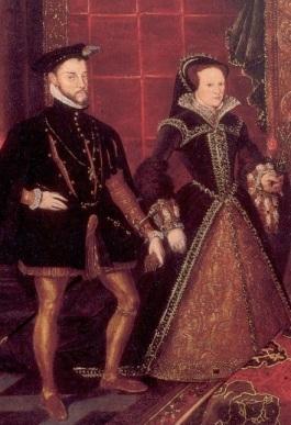 Pintura alegórica da sucessão Tudor, Mary Tudor e Filipe de Espanha. Sudeley Castle.
