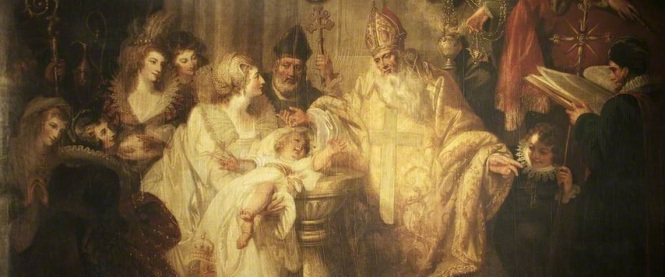 'The Baptism of Henry VIII, 1491', por Mather Brown em 1794.
