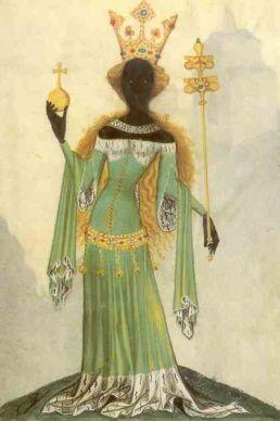 A Rainha de Sabá em um manuscrito medieval, cerca de 1405.