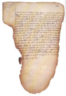Fragmento da carta que Elizabeth, de dez anos, escreveu para Catarina, em italiano.