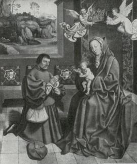 Duque Johan III de Cleve-Jülich-Berg adorando a Virgem Maria, feita com os traços faciais de sua esposa, Maria de Jülich-Berg.