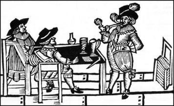Xilogravura de uma taverna Tudor