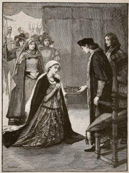 Lady Catarina Gordou ajoelha-se para Henrique VII.