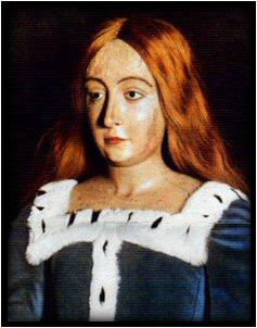 Efígia de Elizabeth de York, com roupas e peruca modernas