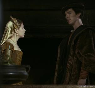 Scarlett Johansson como Maria Bolena e Benedict Cumberbatch como William Carey no filme 'A Outra' em 2008.