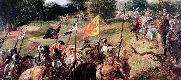 Pintura a óleo de Sir John Gilbert, mostrando o exército escocês se preparando para a Batalha de Flodden.