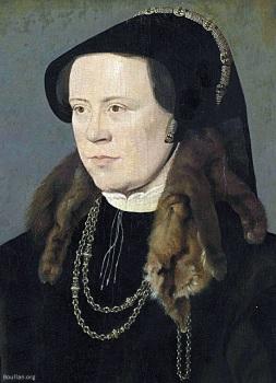 Retrato de uma mulher desconhecida, atribuído a William Scrots, 1545-1555.