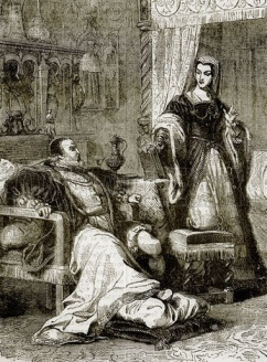 'Katherine attends King Henry VIII from John Cassell's 'History of England'.