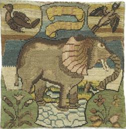 Um elefante bordado por Bess de Hardiwck e Maria, Rainha da Escócia.