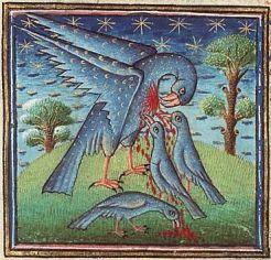 Pelicano em um manuscrito medieval.