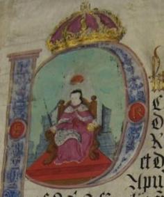 """Maria ou Elizabeth em um """"P"""" de 1558"""