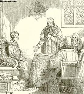 Eduardo Seymour acusa seu irmão Thomas diante Eduardo VI.