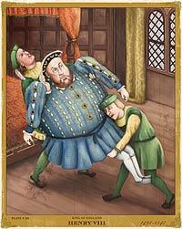 Henrique VIII sendo carregado
